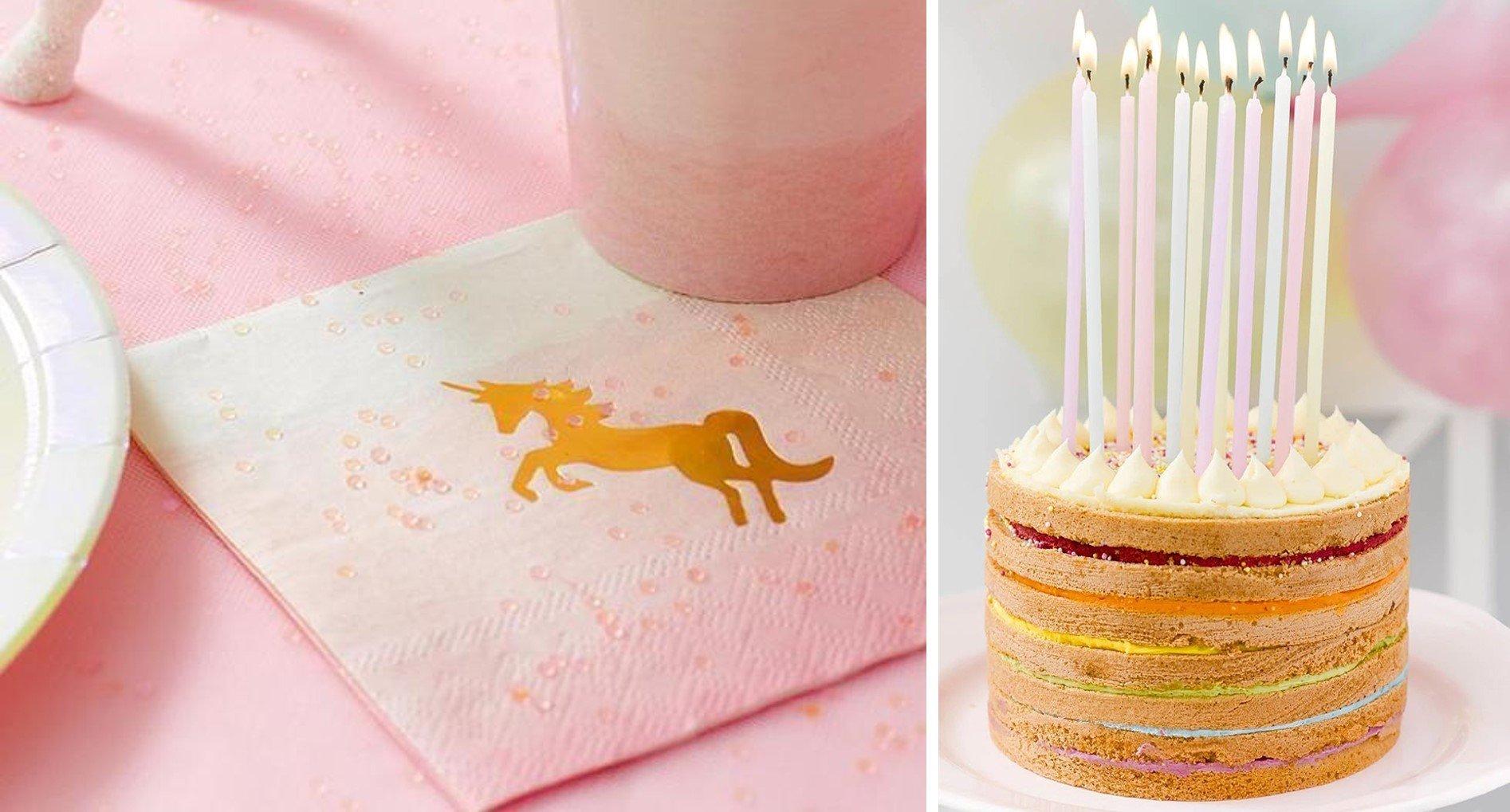 Yksisarvis-servetit pastellinväriset pitkät kakkukynttilät