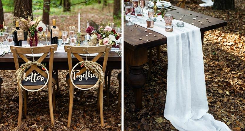 Forest wedding, maanläheinen ja rustiikkinen hääteema