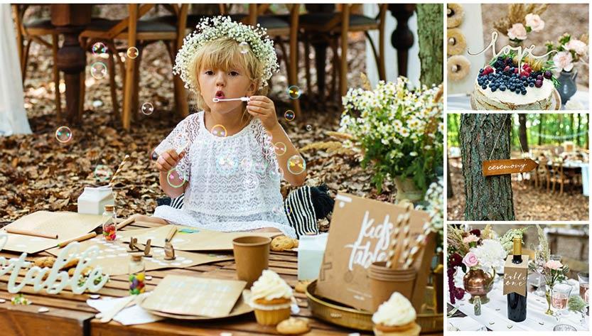 Forest wedding, maanl'heinen ja rustiikkinen hääteema