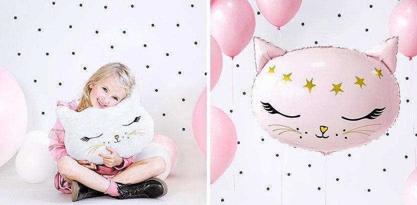 Kissajuhlat koristetyyny ja kissa foliopallo