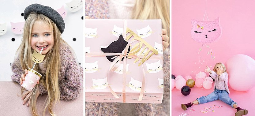 Kissajuhlat lahjapaperi ja kissa pinjata