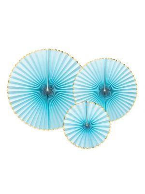 Paperiviuhkat Vaaleansiniset 3 kpl - Candy Pastel