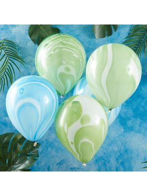 Marmori-ilmapallot, vihreät ja siniset, 30cm, 10kpl