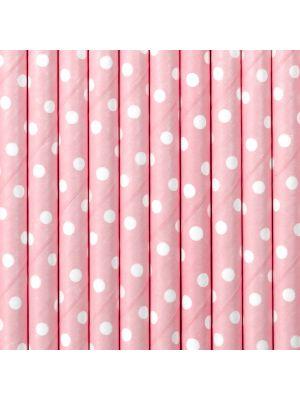 Vaaleanpunaiset paperipillit valkoisilla pilkuilla. Pakkaus sisältää 10 kpl pilliä, joiden pituus on noin 19,5 cm.