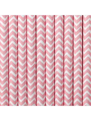 Vaaleanpunaiset chevron paperipillit.