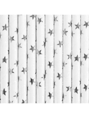 Valkoiset paperipillit hopeisilla tähdillä.