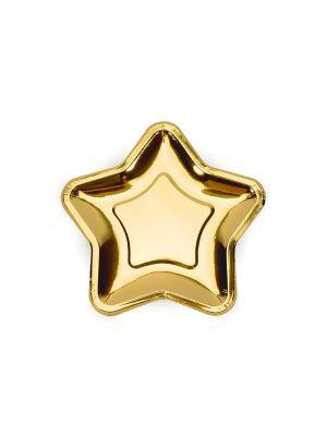 Kultaiset pahvilautaset jotka ovat tähtimuotoiset