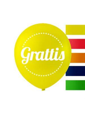 """Ilmapallot tekstillä """"Grattis"""", 25 cm, 10 kpl."""
