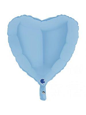 Vaaleansininen sydämenmuotoinen foliopallo.