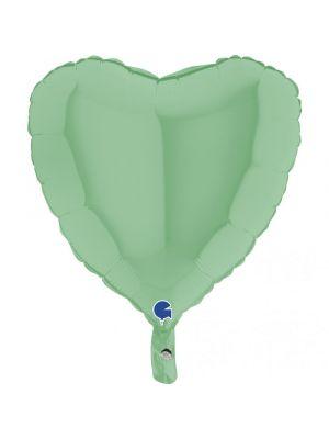 Pastellinvihreä sydämenmuotoinen foliopallo.