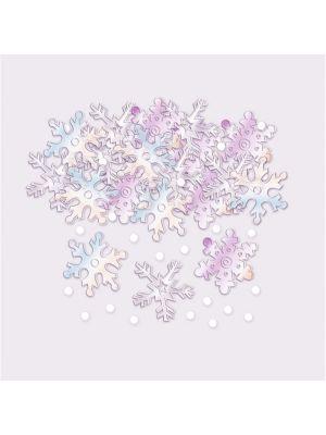 Iridescent lumihiutale-konfetit.