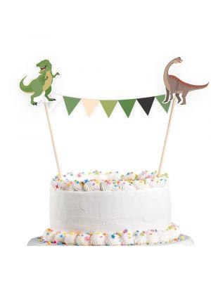 Kakkukoriste dinosauruksilla ja lippuviirillä.
