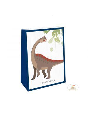 Dinosaurus paperiset lahjapussit, Brachiosaurus kuvalla, 4 kpl.