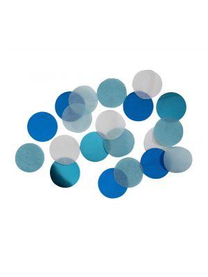 Sekoitus pöytäkonfettia, vaaleansiniset, siniset metallinhohtoiset ja valkoiset.