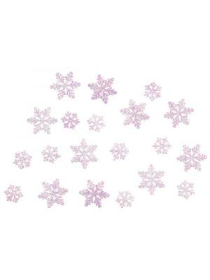 Frozen valkoiset kimaltelevat lumihiutaleet.
