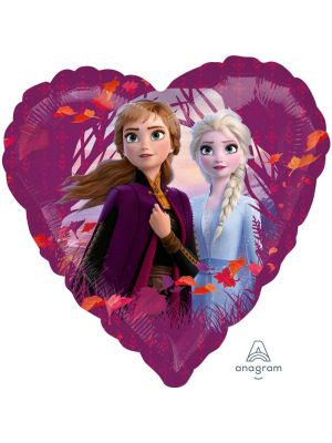 Sydämenmuotoinen Frozen foliopallo: Elsa ja Anna.