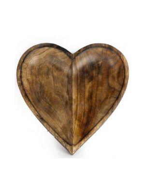 Massiivinen puinen sydämenmuotoinen tarjoilualusta.