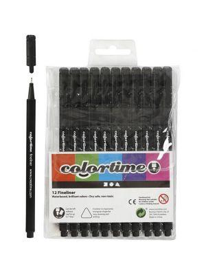 Mustat tussit - Colortime Fineliner, 12kpl