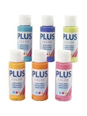 Plus Color Askartelumaali, Akryylimaalit, Värikäs, 6 pulloa.