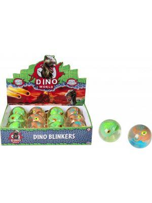 Vilkkuva pallo dinosauruksella.