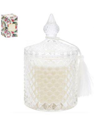 Kaunis kynttilä lasipurkissa tasseli-koristeella.