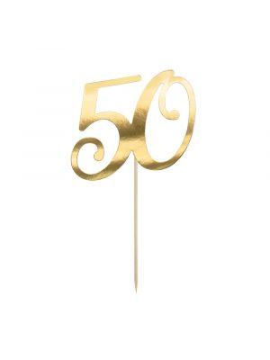 Kultainen kakkukoriste numero 40.