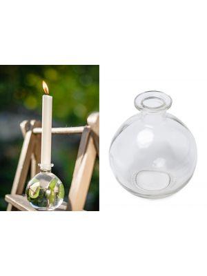 Pieni pyöreä lasipullo / lasimaljakko, 10 cm.