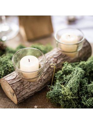 Puinen kynttiläjalka ja tuikkukipot lämpökynttilöille.