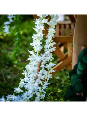 Tekokasvi, kukkaköynnös valkoisilla kukilla, 1,65 m.