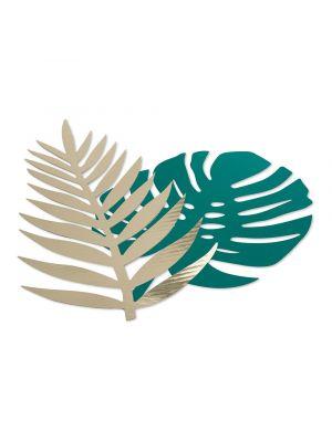 Paperiset vihreät peikonlehdet ja kultaiset palmunlehdet, yhteensä 6 kpl.