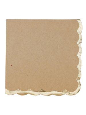 Valkoiset lautasliinat kultaisilla reunoilla, 16 kpl.