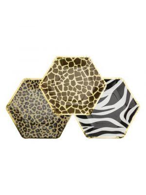 Safari pahvilautaset, Leopardi, Kirahvi, Seepra, yhteensä 9 kpl.