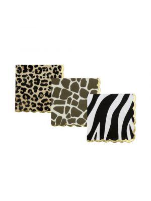 Lautasliinat Safari Jungle. Leopardi- kirahvi- ja seeprakuviolliset servetit.