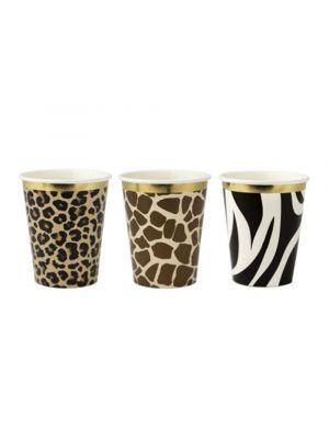 Safari viidakko pahvimukit, leopardi, kirahvi ja seepramukit.