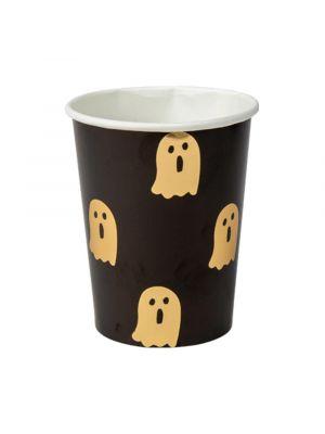 Halloween mustat pahvimukit kultaisilla kummituksilla, 8 kpl.