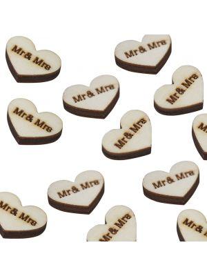 Puiset sydämenmuotoiset konfetit tekstillä Mr & Mrs, 25 kpl.