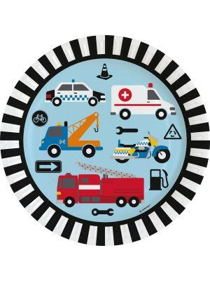 Kertakäyttöiset pahvilautaset ajoneuvoilla (mm poliisiauto, ambulanssi ja paloauto) lasten synttärijuhliin.