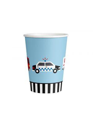 Paperimukit ajoneuvoilla (poliisiauto, paloauto, ambulanssi), 8 kpl.