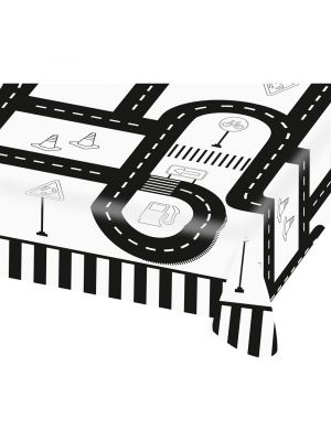 Auto-aiheinen paperinen pöytäliina liikennetien-kuviolla.