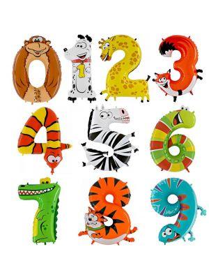 Hauskat eläimenmuotoiset numerofoliopallot! Valitse haluamasi numeron, 0-9.