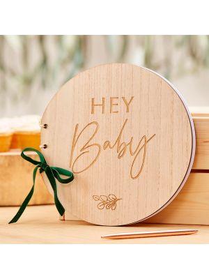 """Puinen vieraskirja tekstillä """"Hey Baby"""""""