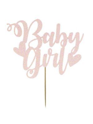"""Hennon vaaleanpunainen-glitteri kakkukoriste tekstillä """"Baby girl""""."""