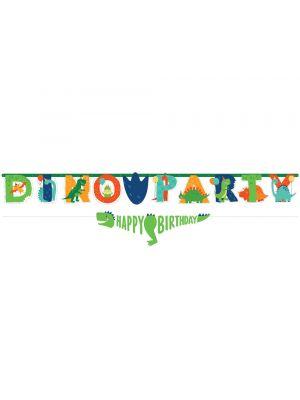 """Isokokoinen dinosaurus-banneri, tekstillä """"DinoParty"""" sekä dinosaurus banneri """"Happy Birthday"""""""