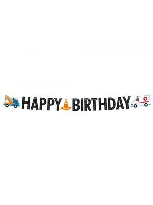 Banneri Happy Birthday, ajoneuvot, 1.8 m.