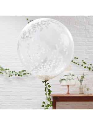 Upeat jätti-ilmapallot valkoisilla konfeteilla, 3 kpl.