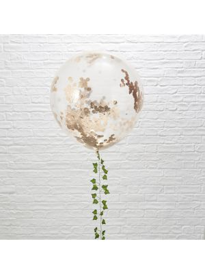 Upeat jätti-ilmapallot ruusukullanvärisillä konfeteilla, 3 kpl.