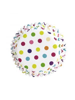 Valkoiset folioidut PME:n muffinssivuoat värikkäillä pilkuilla, 30 kpl.