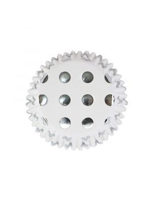 Valkoiset folioidut PME:n muffinssivuoat hopeisilla pilkuilla, 30 kpl.