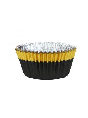 Mustat folioidut PME:n muffinssivuoat kultaisella reunalla, 30 kpl.