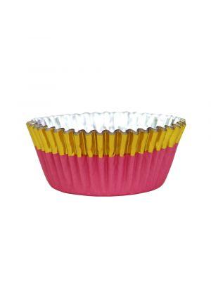 Vaaleanpunaiset folioidut PME:n muffinssivuoat kultaisella reunalla, 30 kpl.